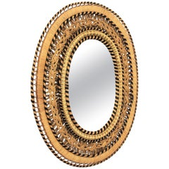 Spanish Mid-Century Modern Handcrafted Woven Wicker and Rattan Oval Mirror