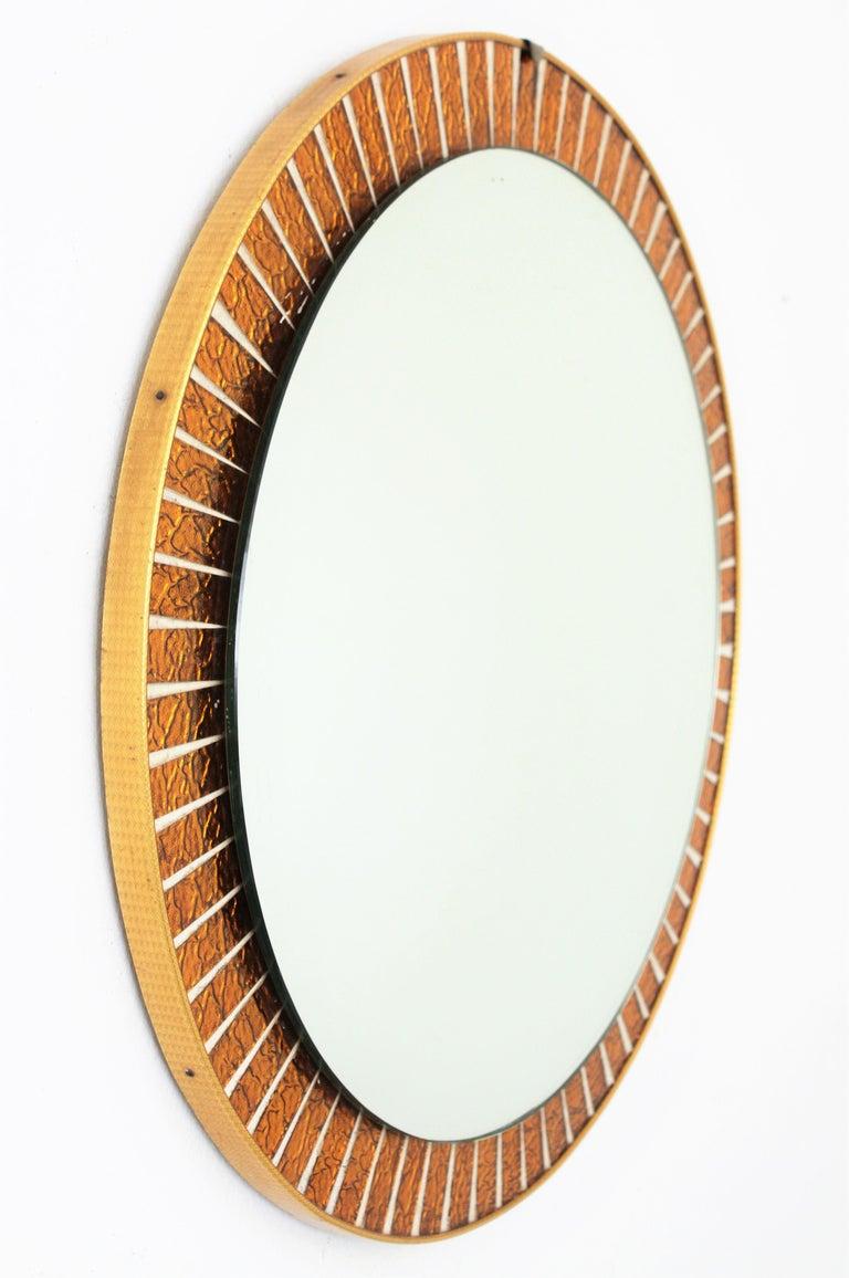 Spanish Mid-Century Modern Orange Glass Mosaic Circular ...