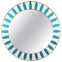 Spanish Mid-Century Modern Sunburst Circular Mirror with Blue Mirrored Glasses