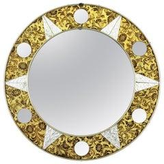 Spanish Mid-Century Modern Sunburst Glass Mosaic Round Mirror