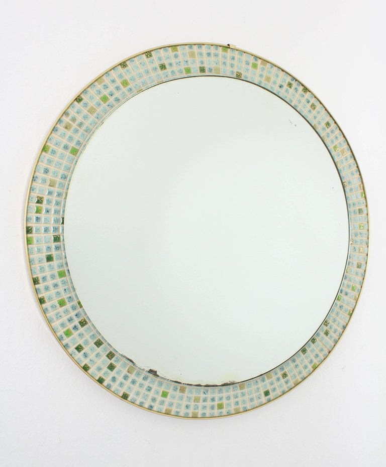 Mid-Century Modern Pastel Colors Ceramic Mosaic Circular Mirror, Spain, 1960s For Sale 4