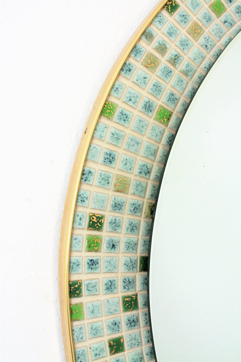 Mid-Century Modern Pastel Colors Ceramic Mosaic Circular Mirror, Spain, 1960s For Sale 5