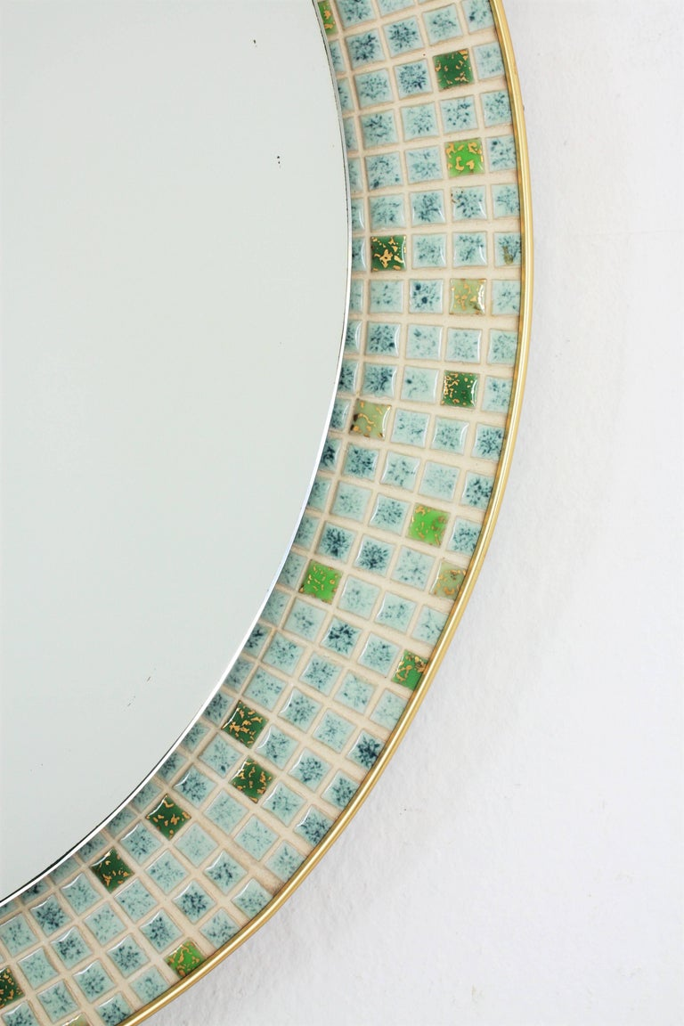 Glazed Mid-Century Modern Pastel Colors Ceramic Mosaic Circular Mirror, Spain, 1960s For Sale