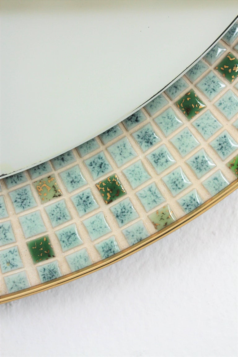 Mid-Century Modern Pastel Colors Ceramic Mosaic Circular Mirror, Spain, 1960s In Excellent Condition For Sale In Barcelona, ES