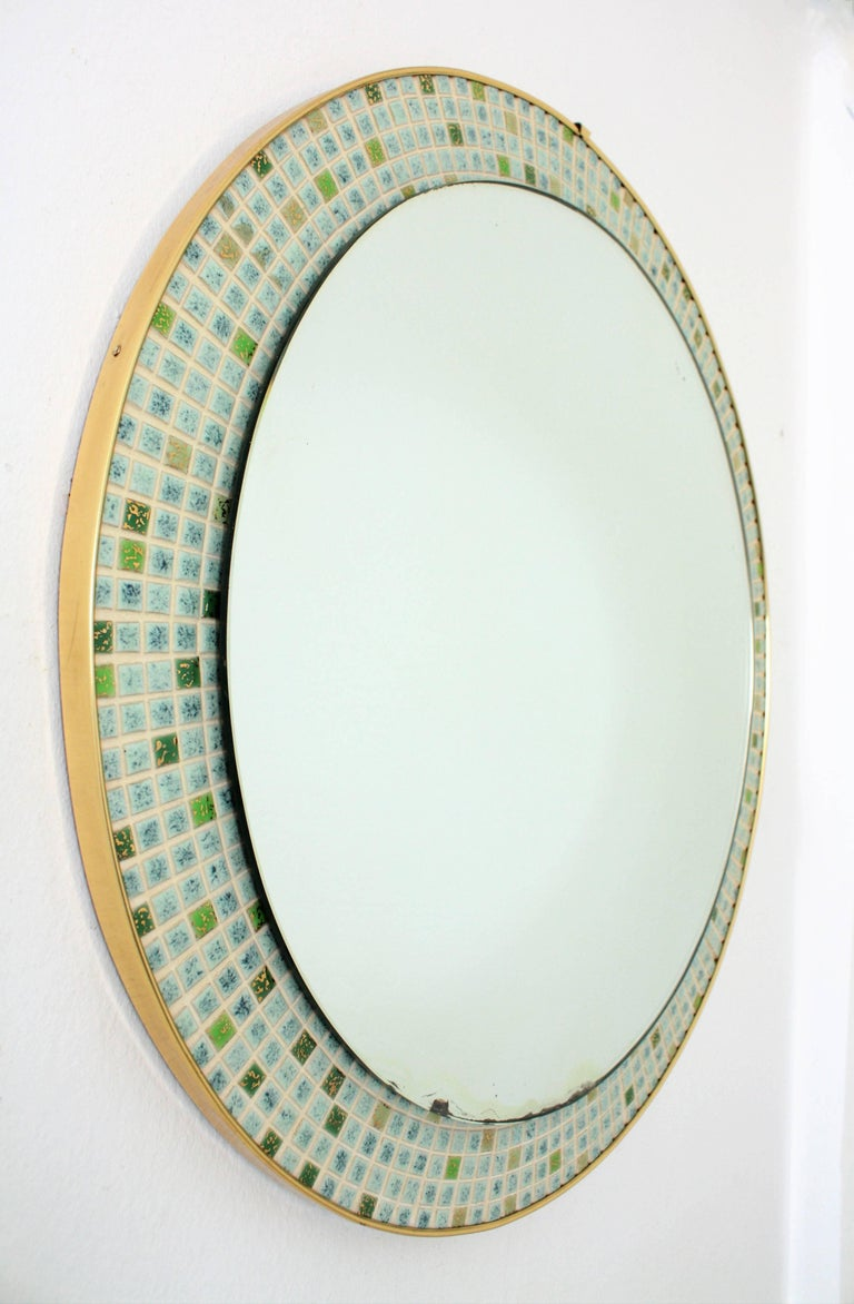 20th Century Mid-Century Modern Pastel Colors Ceramic Mosaic Circular Mirror, Spain, 1960s For Sale