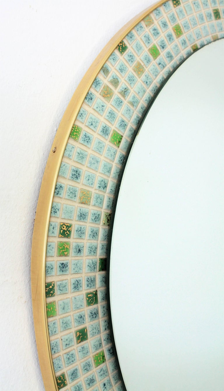 Mid-Century Modern Pastel Colors Ceramic Mosaic Circular Mirror, Spain, 1960s For Sale 2