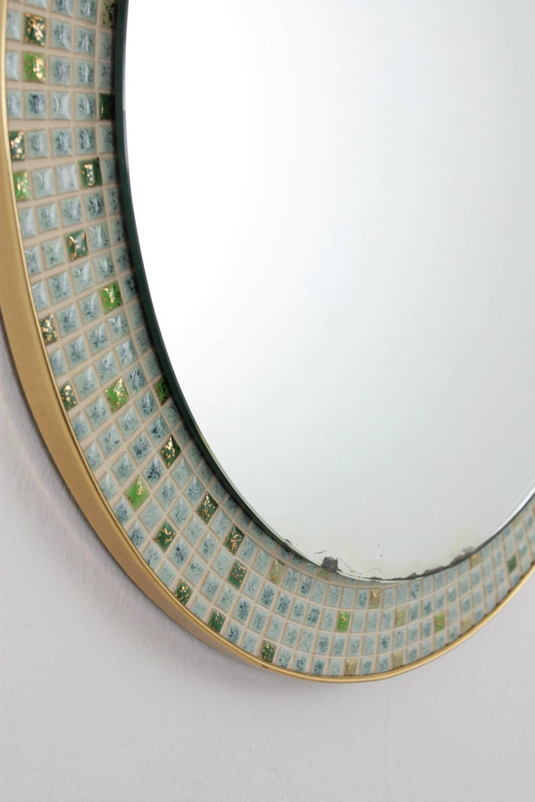 Mid-Century Modern Pastel Colors Ceramic Mosaic Circular Mirror, Spain, 1960s For Sale 3