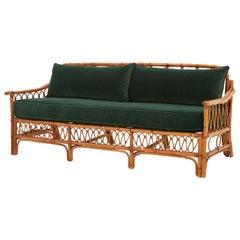 Spanish Midcentury Rattan and Bamboo Sofa in Emerald Green Velvet