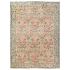 Spanish Midcentury Beige, Turquoise and Dusty Pink Hand Knotted Wool Rug