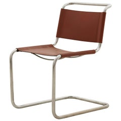 Spanish Midcentury Chrome and Leather Cantilever Chair