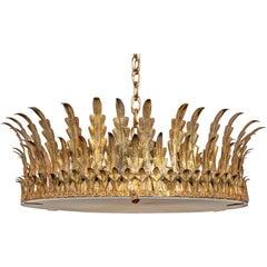 Spanish Midcentury Four-Bulb Gilt Metal Semi-Flush Crown Chandelier with Foliage