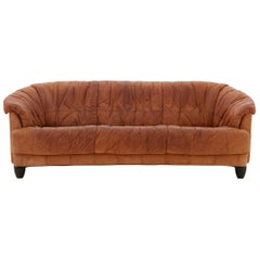 Spanish Midcentury Patchwork Detail Leather Sofa