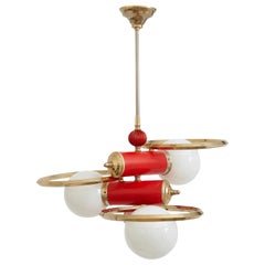 Spanish Midcentury Red and Brass Three-Light Pendant with Milk Glass Shades