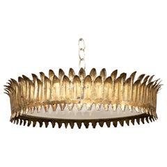 Spanish Midcentury Three-Bulb Gilt Metal Crown Chandelier with Leaf Motifs