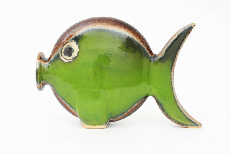 Spanish Modern Majolica Ceramic Green and Brown Fish Figure, 1950s In Excellent Condition In Barcelona, ES