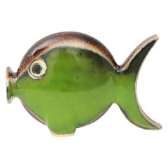 Spanish Modern Majolica Ceramic Green and Brown Fish Figure, 1950s