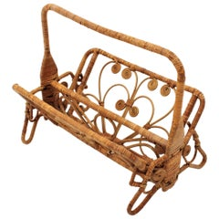 Spanish Modern Rattan Wicker Foldable Magazine Rack with Filigree Details