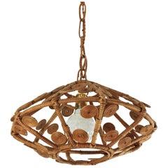 Spanish Modern Rattan Wicker Pendant Hanging Lamp with Filigree Details, 1960s