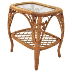 Spanish Modern Rattan and Wicker Side Table / Nightstand with Filigree Details