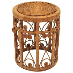 Spanish Modern Wicker and Rattan Stool or End Table with Filigree Details, 1960s