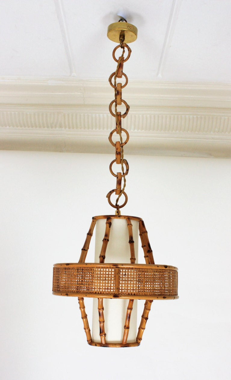 Spanish Modern Wicker Wire, Rattan & Bamboo Conic Pendant Lamp with Tiki Accents For Sale 4