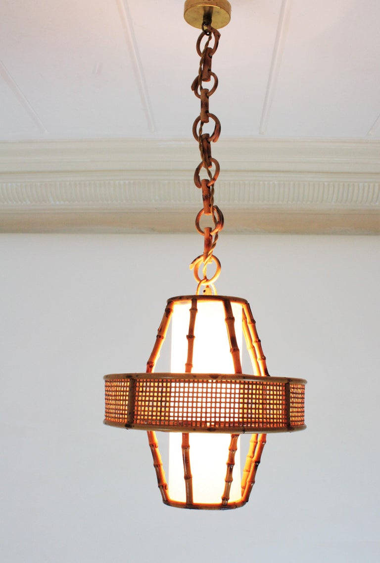 Spanish Modern Wicker Wire, Rattan & Bamboo Conic Pendant Lamp with Tiki Accents For Sale 5