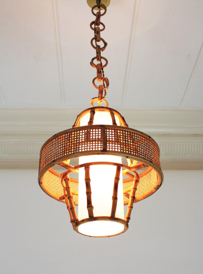 Spanish Modern Wicker Wire, Rattan & Bamboo Conic Pendant Lamp with Tiki Accents For Sale 6