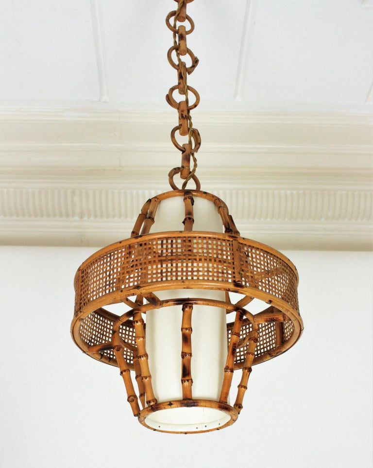 Spanish Modern Wicker Wire, Rattan & Bamboo Conic Pendant Lamp with Tiki Accents For Sale 7