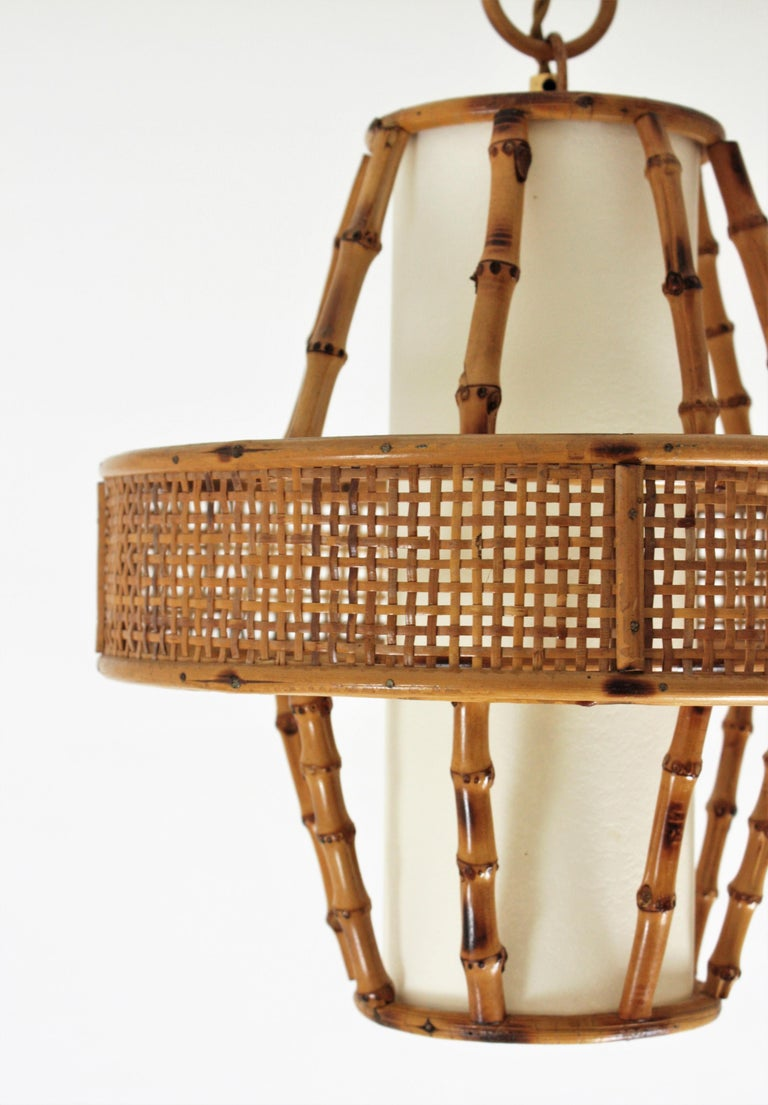 Spanish Modern Wicker Wire, Rattan & Bamboo Conic Pendant Lamp with Tiki Accents For Sale 8