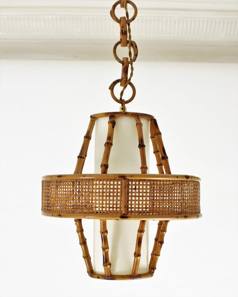 Spanish Modern Wicker Wire, Rattan & Bamboo Conic Pendant Lamp with Tiki Accents For Sale 9