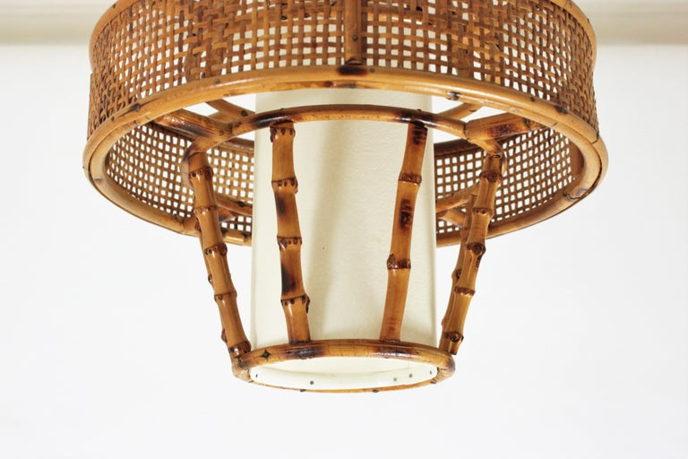 Spanish Modern Wicker Wire, Rattan & Bamboo Conic Pendant Lamp with Tiki Accents For Sale 10
