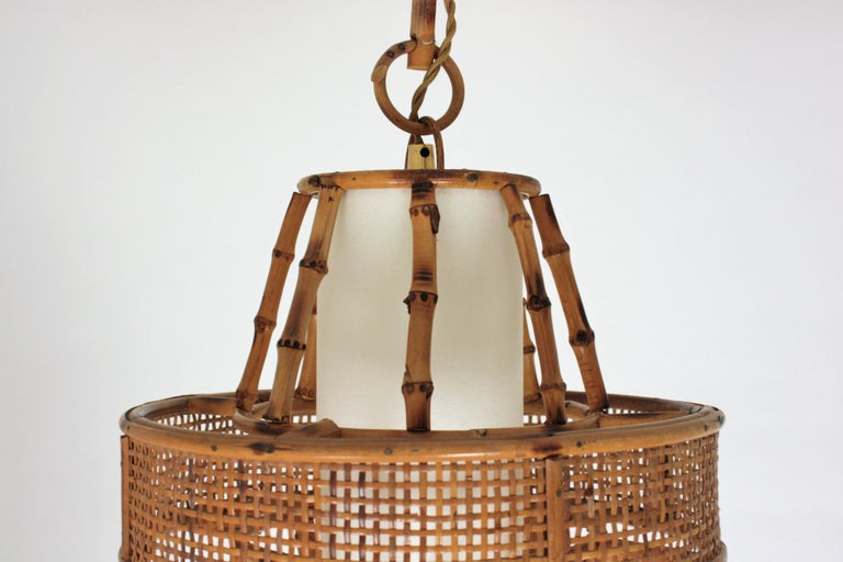 Spanish Modern Wicker Wire, Rattan & Bamboo Conic Pendant Lamp with Tiki Accents For Sale 12