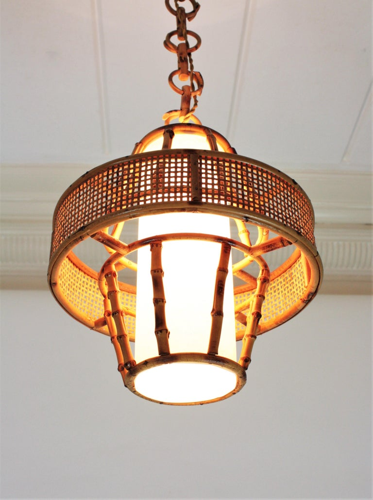 Spanish Modern Wicker Wire, Rattan & Bamboo Conic Pendant Lamp with Tiki Accents For Sale 14