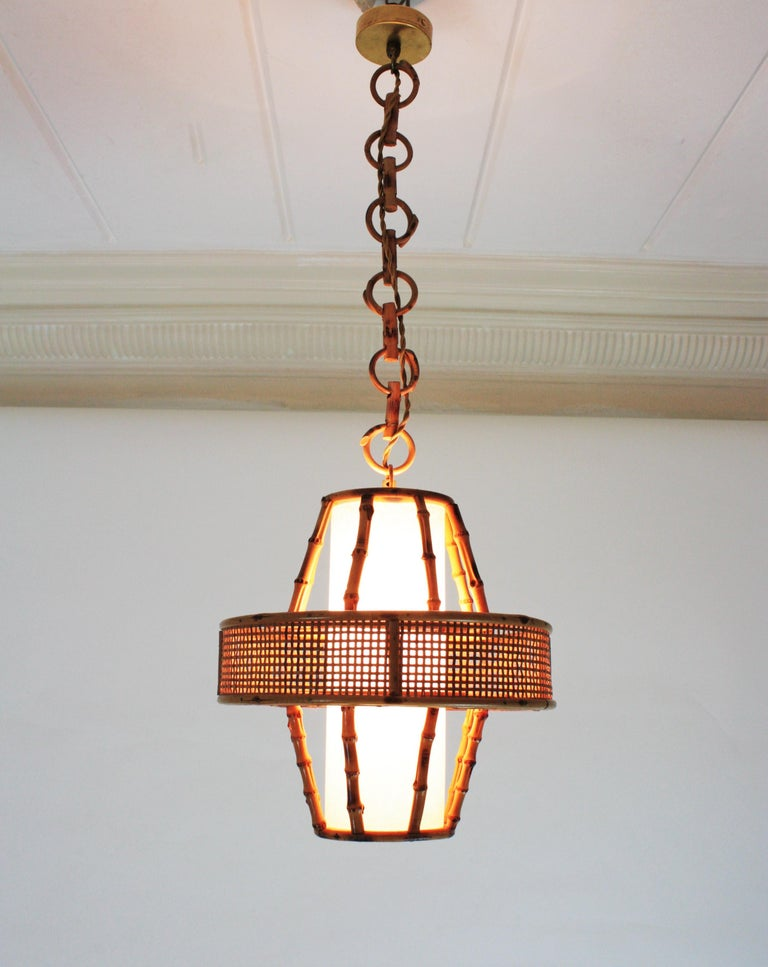 Hand-Crafted Spanish Modern Wicker Wire, Rattan & Bamboo Conic Pendant Lamp with Tiki Accents For Sale
