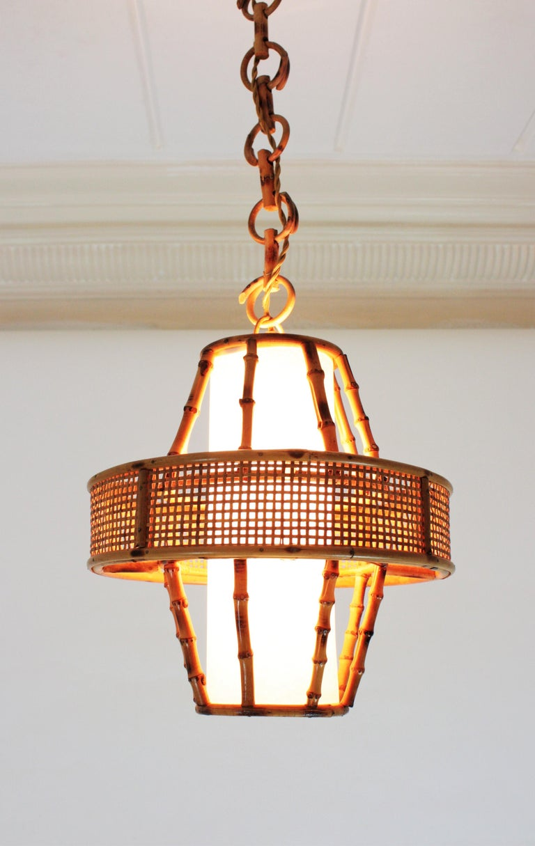 20th Century Spanish Modern Wicker Wire, Rattan & Bamboo Conic Pendant Lamp with Tiki Accents For Sale