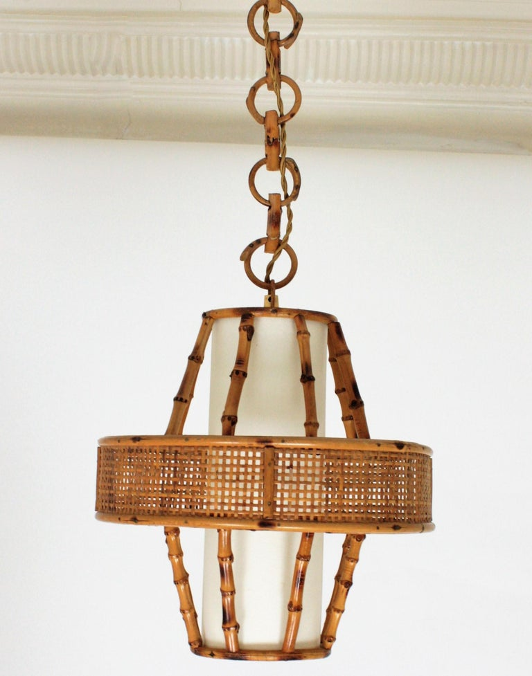 Spanish Modern Wicker Wire, Rattan & Bamboo Conic Pendant Lamp with Tiki Accents For Sale 1