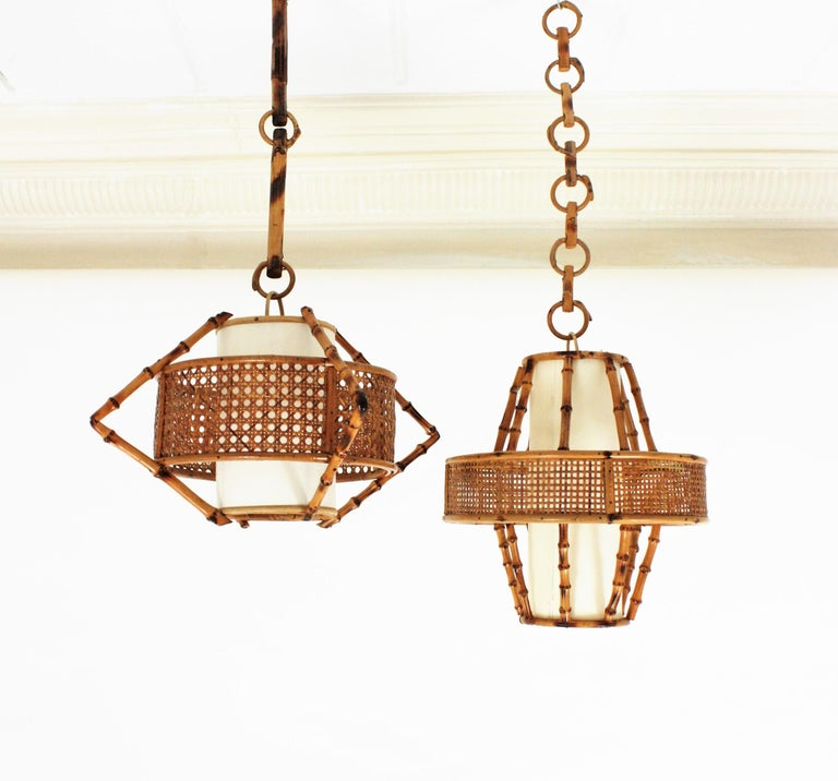 Spanish Modern Wicker Wire, Rattan & Bamboo Conic Pendant Lamp with Tiki Accents For Sale 2