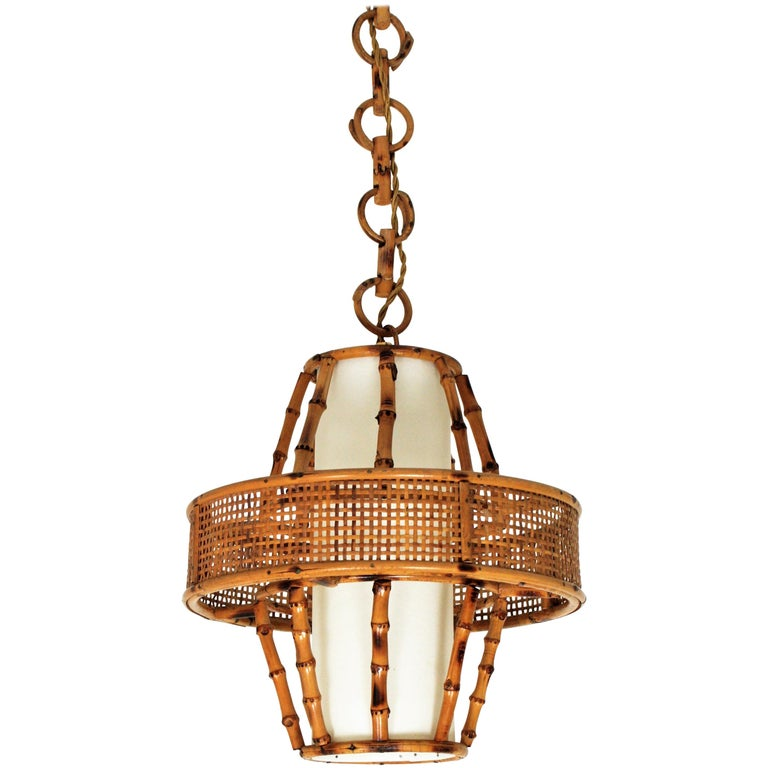 Spanish Modern Wicker Wire, Rattan & Bamboo Conic Pendant Lamp with Tiki Accents For Sale