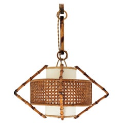 Spanish Modernist Bamboo Rattan and Wicker Pendant Lamp with Tiki Accents, 1950s