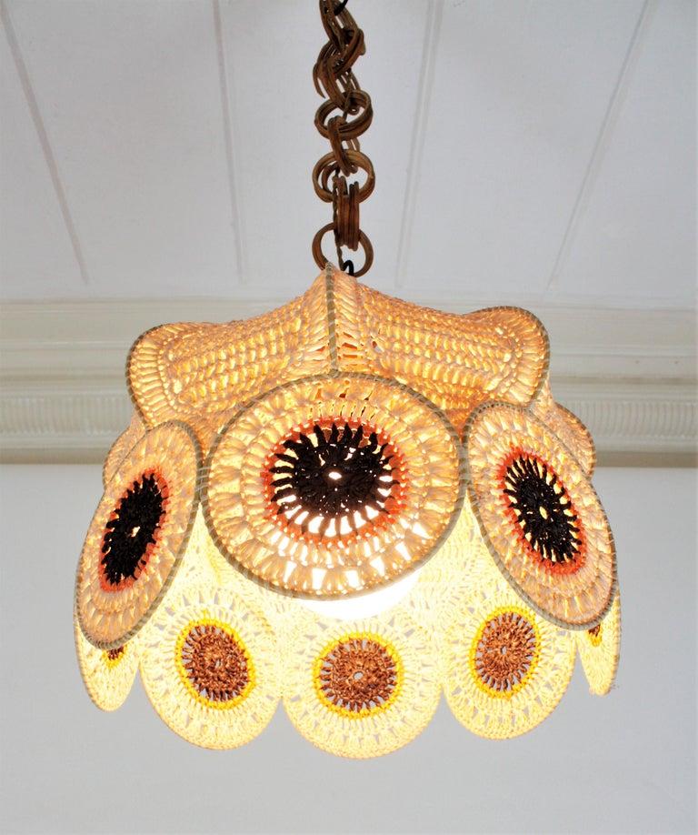 Spanish Modernist Large Pendant Lamp in Beige, Orange and Brown Macramé 3