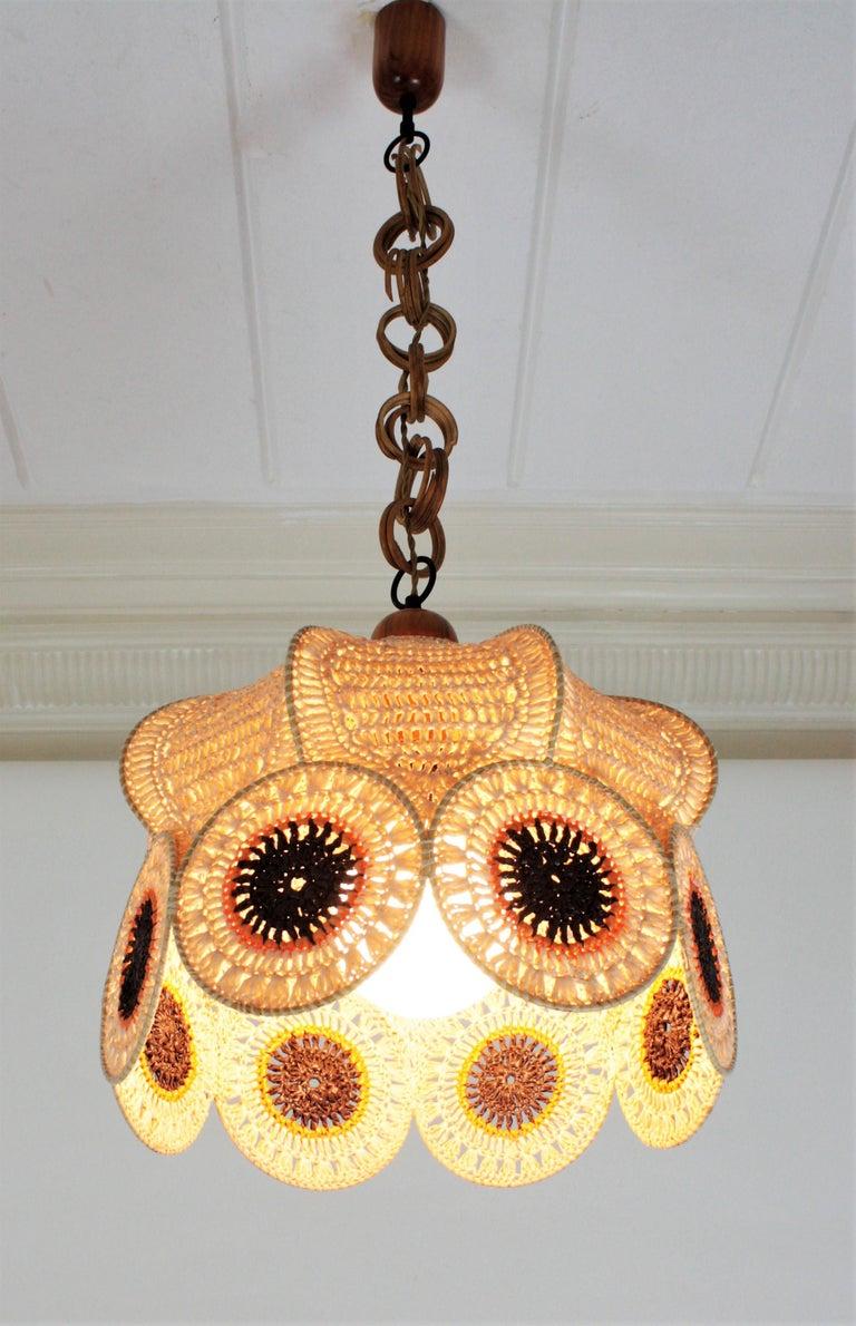 Spanish Modernist Large Pendant Lamp in Beige, Orange and Brown Macramé 4