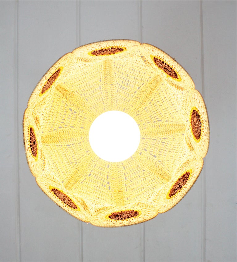 Spanish Modernist Large Pendant Lamp in Beige, Orange and Brown Macramé 5
