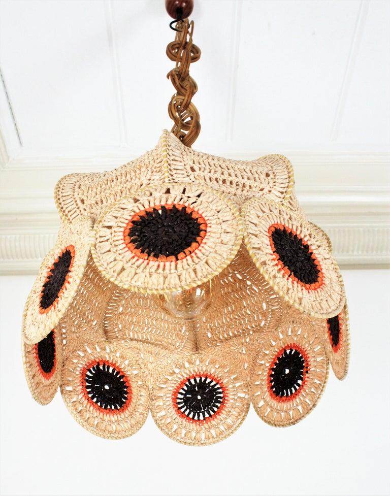 Spanish Modernist Large Pendant Lamp in Beige, Orange and Brown Macramé 6