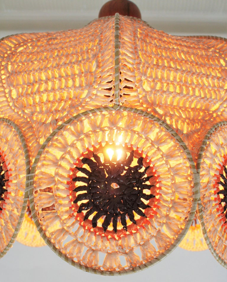 Spanish Modernist Large Pendant Lamp in Beige, Orange and Brown Macramé 8