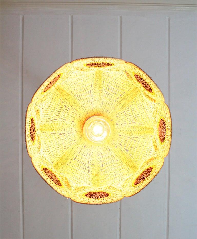 Spanish Modernist Large Pendant Lamp in Beige, Orange and Brown Macramé 9