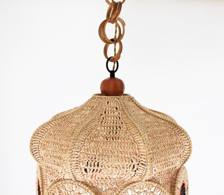 Spanish Modernist Large Pendant Lamp in Beige, Orange and Brown Macramé 11