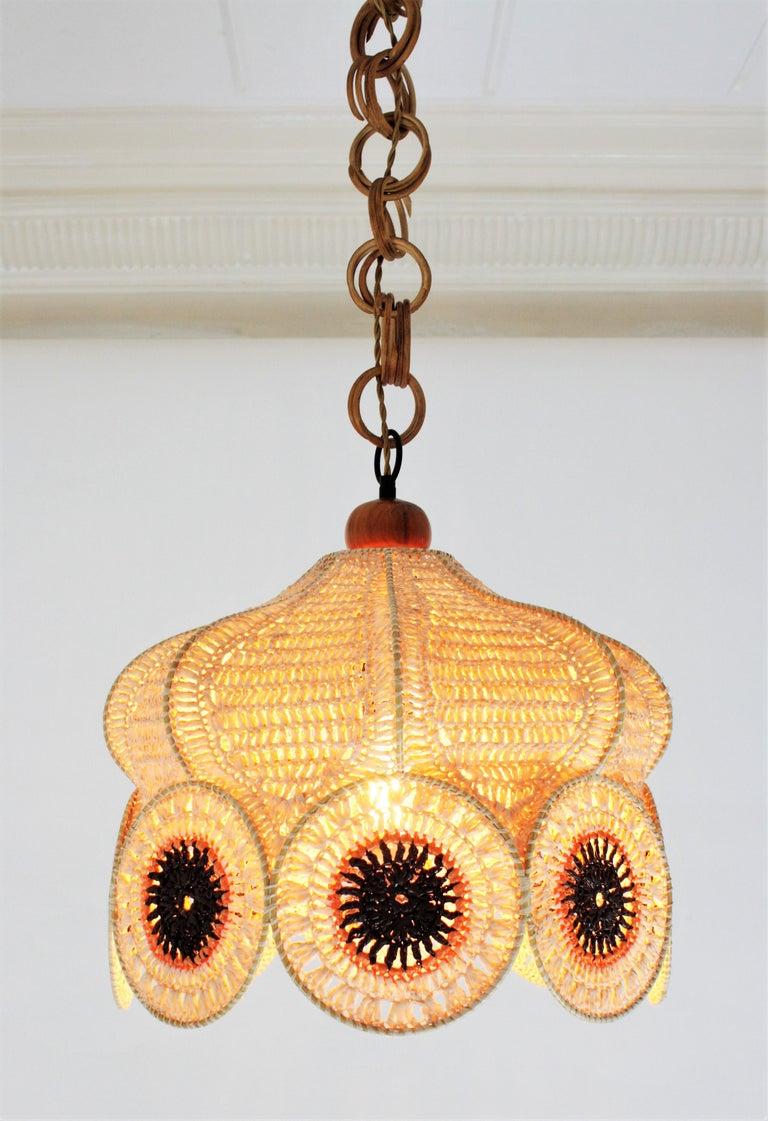 Spanish Modernist Large Pendant Lamp in Beige, Orange and Brown Macramé 12