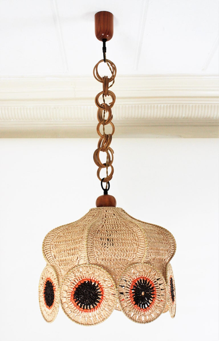 Spanish Modernist Large Pendant Lamp in Beige, Orange and Brown Macramé 13