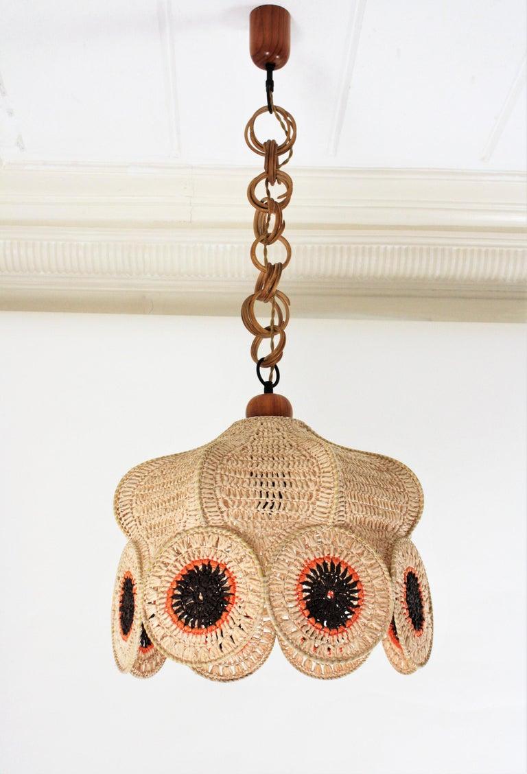 Bohemian Spanish Modernist Large Pendant Lamp in Beige, Orange and Brown Macramé