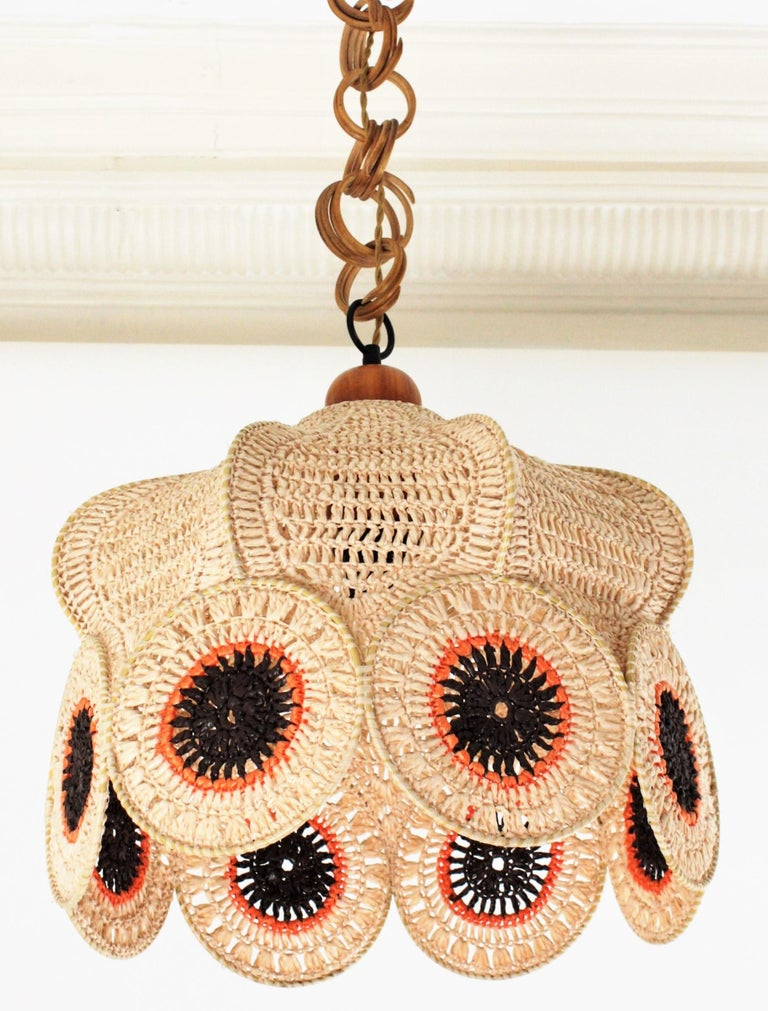 Hand-Knotted Spanish Modernist Large Pendant Lamp in Beige, Orange and Brown Macramé